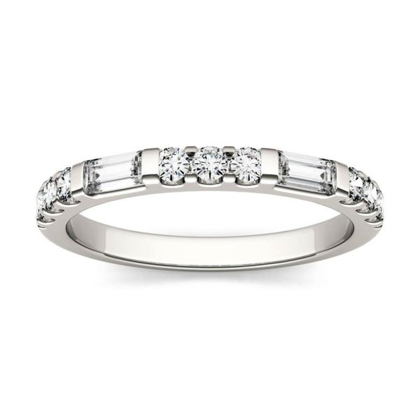 Moissanite by Charles & Colvard 14k Gold 0.5 DEW Baguette Stackable Band. Opens flyout.