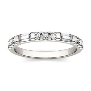 Moissanite by Charles & Colvard 14k White Gold 0.5 DEW Baguette Stackable Band