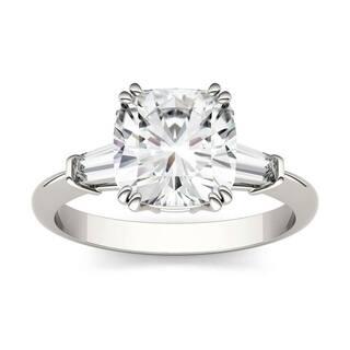 Moissanite by Charles & Colvard 14k White Gold 2.77 DEW Cushion & Baguette Engagement Ring