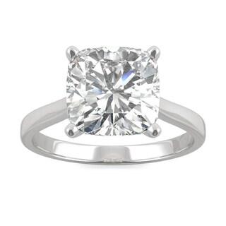 Moissanite by Charles & Colvard 14k White Gold 3.3 DEW Cushion Solitaire Engagement Ring