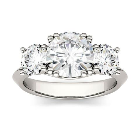 Moissanite by Charles & Colvard 14k White Gold 3.10 DEW Round Three Stone Ring