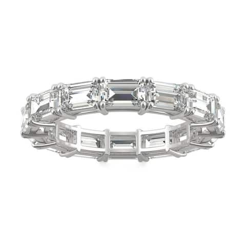 Moissanite by Charles & Colvard 14k White Gold 3.78 DEW Emerald Cut Eternity Band