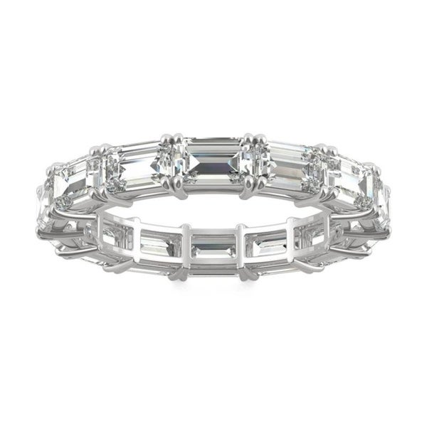 Moissanite by Charles & Colvard 14k White Gold 3.78 DEW Emerald Cut Eternity Band. Opens flyout.