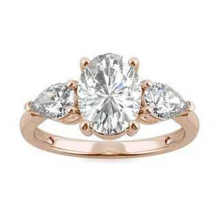 Moissanite by Charles & Colvard 14k Rose Gold 2.96 DEW Oval Three Stone Ring