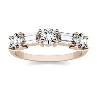 Moissanite by Charles & Colvard 14k Rose Gold 1.15 DEW Baguette Stackable Band