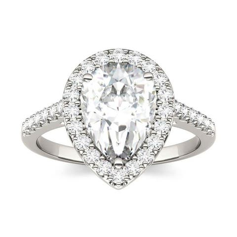 Moissanite by Charles & Colvard 14k White Gold 2.58 DEW Pear Halo Engagement Ring