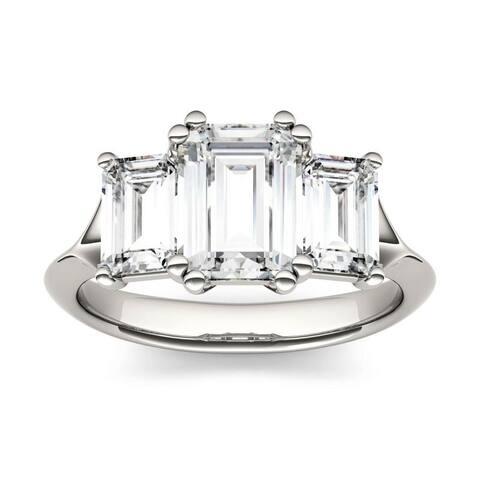 Moissanite by Charles & Colvard 14k White Gold 2.91 DEW Emerald Cut Three Stone Ring