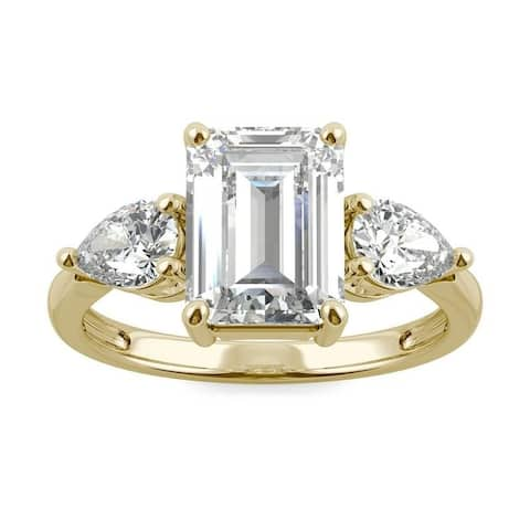 Moissanite by Charles & Colvard 14k Gold 3.38 DEW Emerald Cut Three Stone Ring