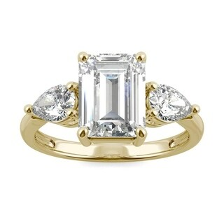 Moissanite by Charles & Colvard 14k Gold 3.38 DEW Emerald Cut Three Stone Ring