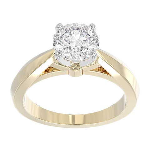 14K Yellow Gold Diamond Solitaire Engagement Ring - Round 1/2 CTTW - IGI Certified
