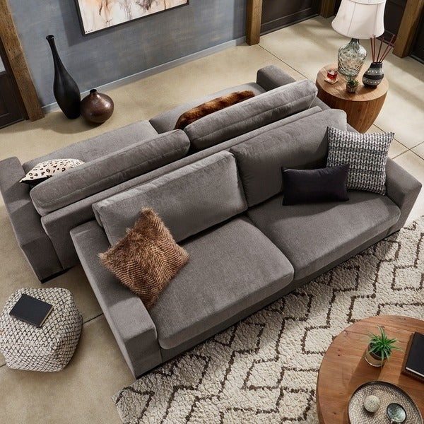 shop ashton grey fabric double sided down feather extra long sofa by rh overstock ca