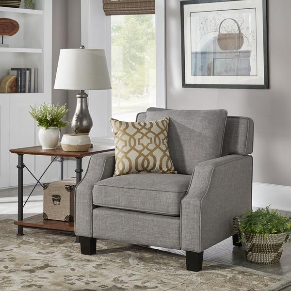 Porch & Den Dauphine Grey Linen Tailored Track Arm Chair
