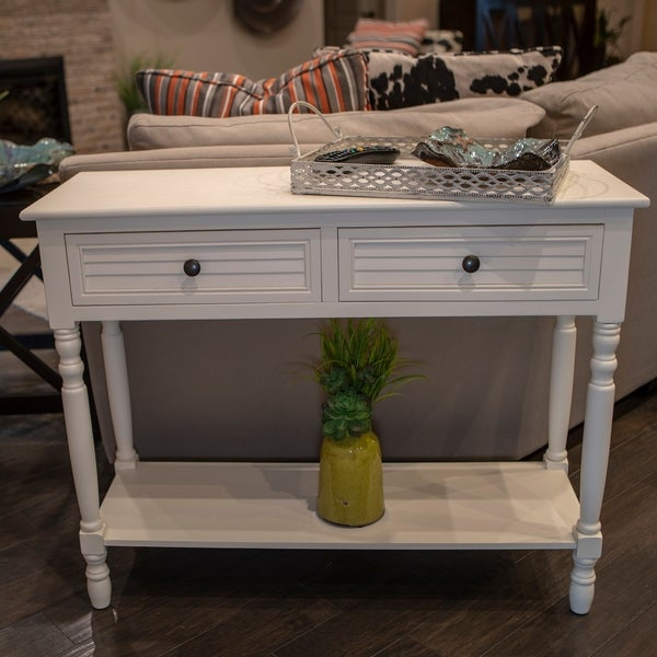 Simplify Cream Shutter-style Drawer Console Table. Opens flyout.