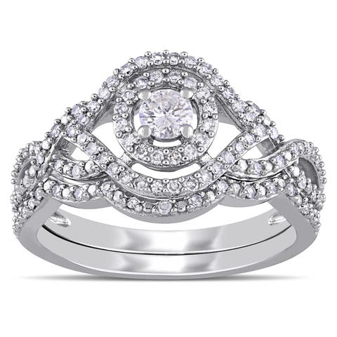 1/2ct TDW Diamond Halo Crossover Bridal Ring Set in 10k White Gold by Miadora