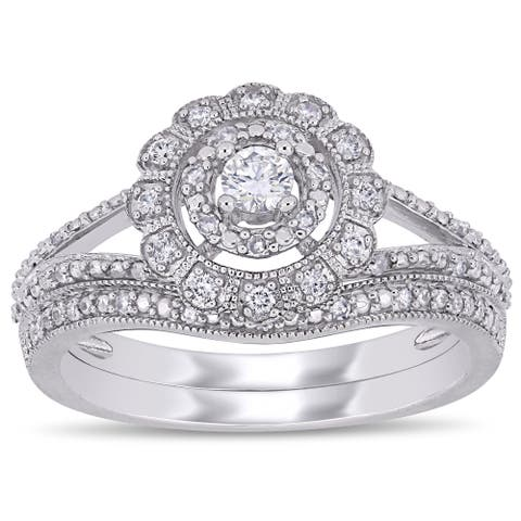 Miadora 10k White Gold 1/3ct TDW Diamond Floral Halo Split Shank Bridal Ring Set