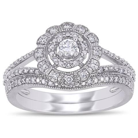 Miadora 10k White Gold 1/3ct TDW Diamond Floral Halo Split Shank Bridal Ring Set