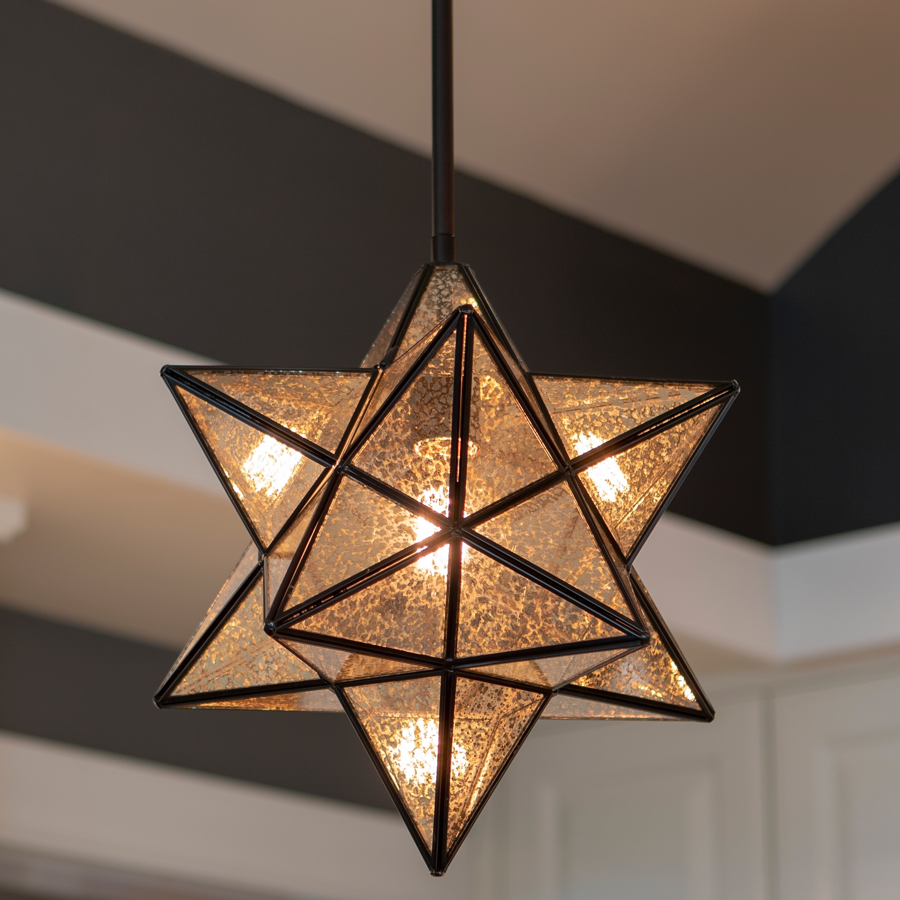 Star Shaped One Light Pendant On