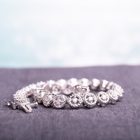 Miadora Sterling Silver 1ct TDW Diamond Tennis Link Bracelet