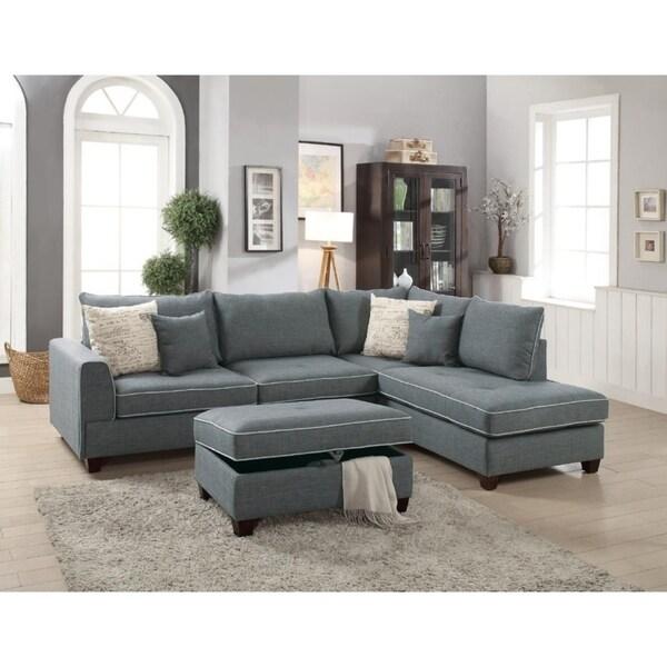 Pony 3-piece Sectional Sofa with Storage Ottoman