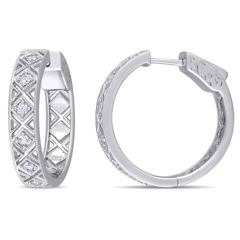 Miadora Sterling Silver White Sapphire Criss-Cross Hoop Earrings