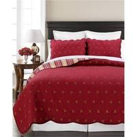 Cozy Line Flaming Red Paisley 3 Piece Reversible Cotton Quilt Set