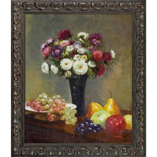 Henri Fantin-Latour 'Asters and Fruit on a Table' Hand Painted Oil Reproduction