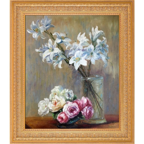 Henri Fantin-Latour 'Roses and Lilies' Hand Painted Oil Reproduction