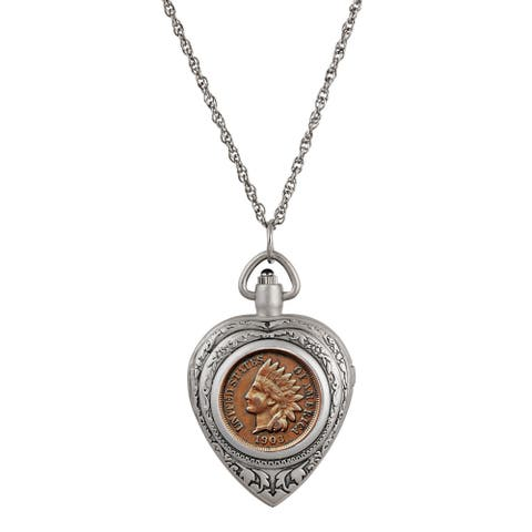 Indian Head Penny Coin Heart Locket Pocket Watch Pendant Necklace