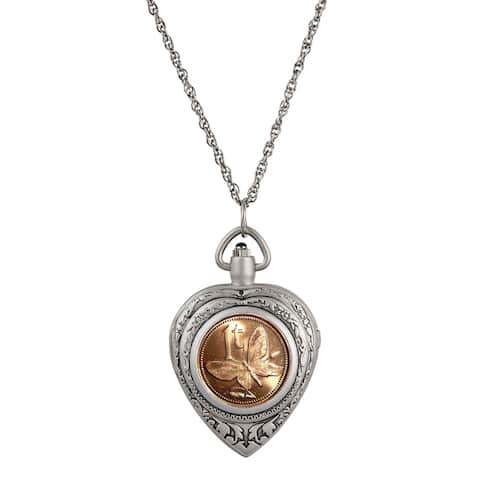 Butterfly Coin Heart Locket Pocket Watch Pendant Necklace