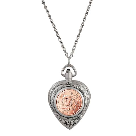 French 2 Euro Coin Heart Locket Pocket Watch Pendant Necklace