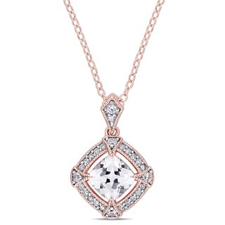 Miadora Rose Plated Sterling Silver Created White Sapphire 1 10ct TDW Diamond Halo Necklace