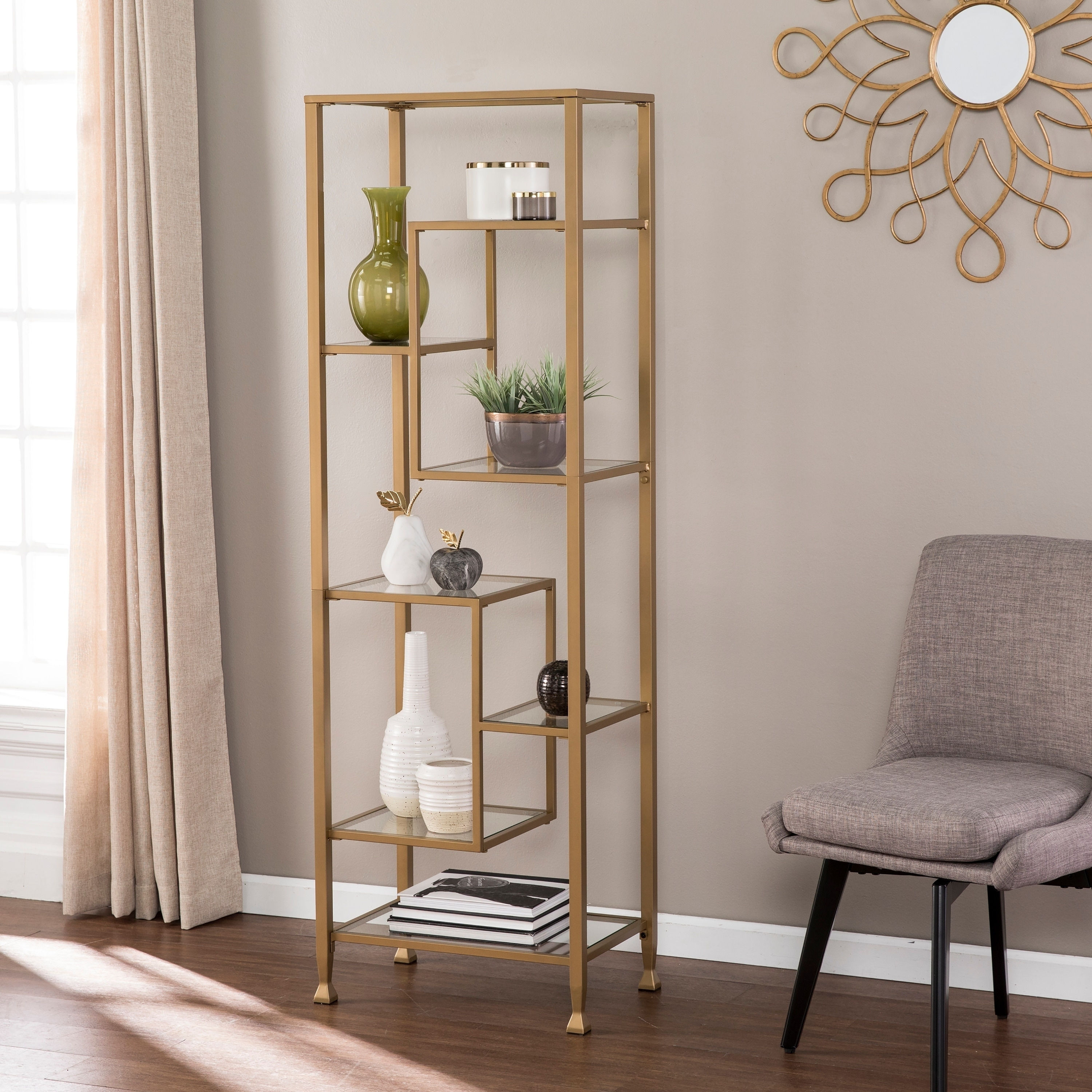 Silver Orchid Price Tall Skinny Etagere Bookcase Contemporary