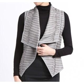 Genuine Lambskin Lea Leather Vest Gray