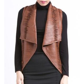 Genuine Lambskin Lea Leather Vest Cognac