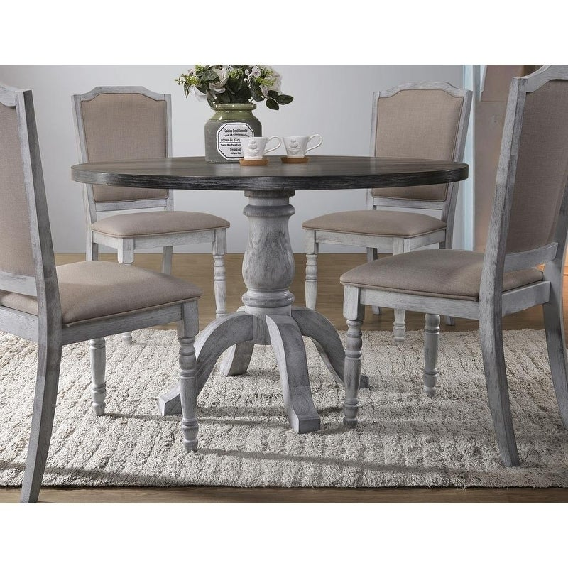 Best Master Furniture Weathered Gray White Round Dining Table