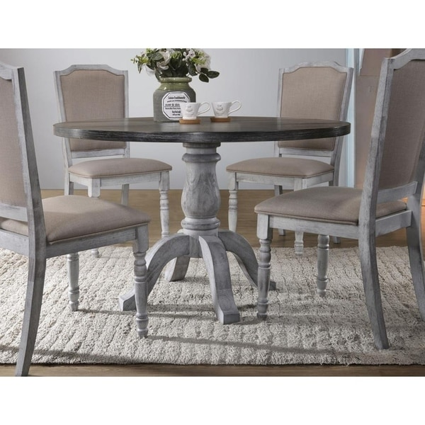 Shop Best Master Furniture Weathered Gray White Round Dining Table