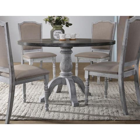Best Master Furniture Weathered Gray/ White Round Dining Table