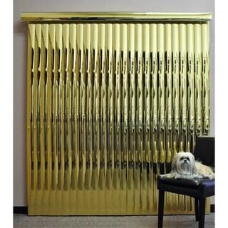 "Gold Mirror Vinyl Vertical Blind, 98"" L x 36"" to 98"" W, CORDLESS"