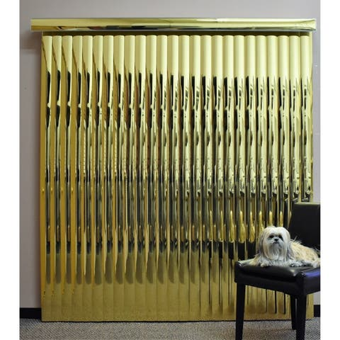 "Gold Mirror Vinyl Vertical Blind, 72"" L x 36"" to 98"" W, CORDLESS"