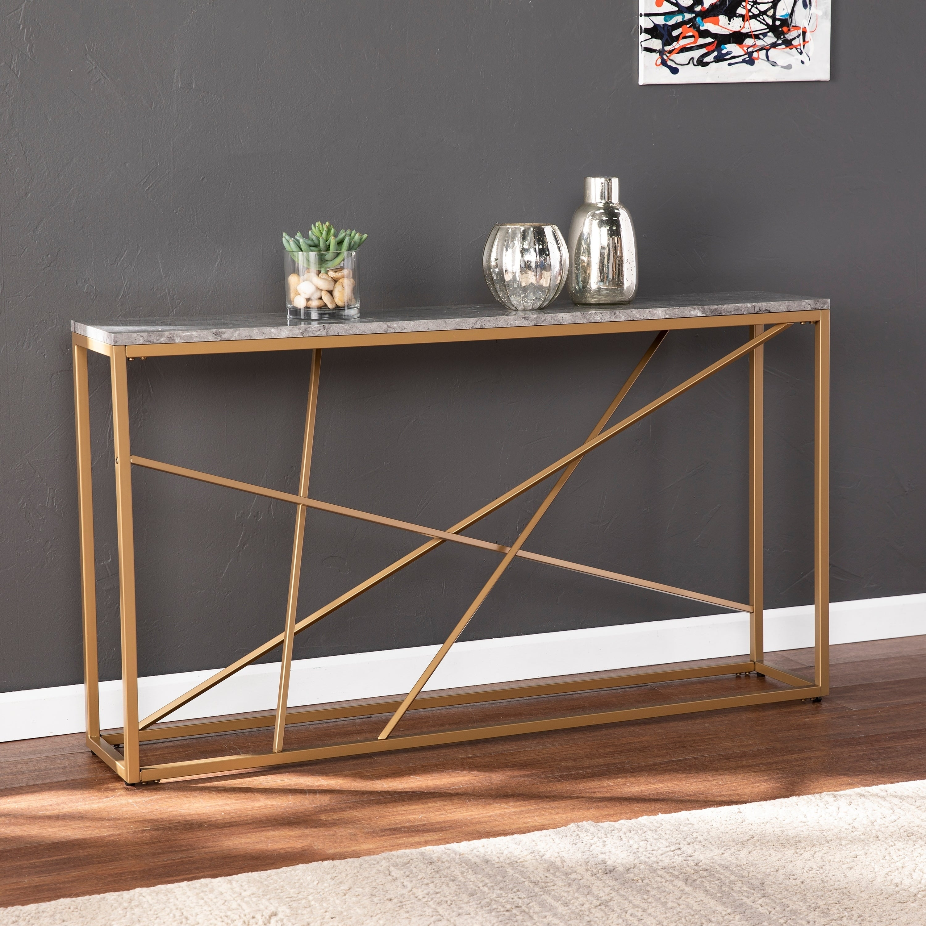 Picture of: Strick Bolton Sigrid Faux Marble Skinny Console Table Overstock 25444763