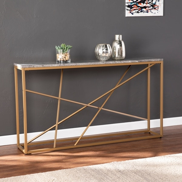 Strick & Bolton Sigrid Faux Marble Skinny Console Table. Opens flyout.
