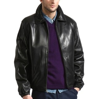 Men's Premium Lambskin Leather Bomber with Elasticized Cuffs/Waist