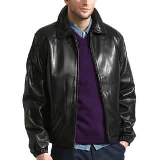 Men's Premium Lambskin Leather Bomber with Elasticized Cuffs/Waist
