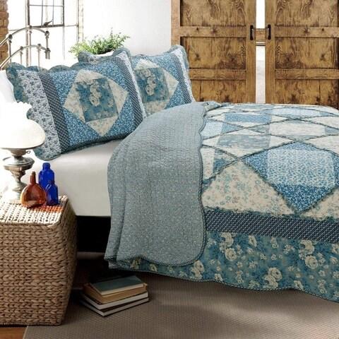 Cozy Line Monique Toile Patchwork 3-piece Reversible Cotton Quilt Set