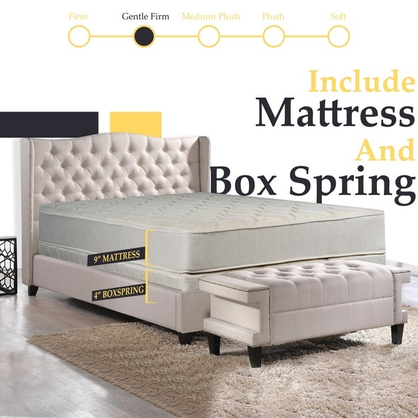 ONETAN,9-Inch Gentle Firm Tight top Innerspring Fully Assembled Mattress, Good For The Back, With 4-Inch Box Spring,