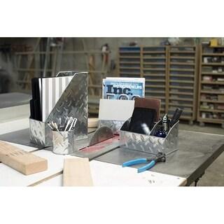 Blu Monaco 4 Piece Galvanized Chrome Metal Desk Organizer Set