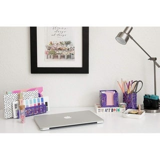 Blu Monaco 3 Piece Purple Desk Organizer Set