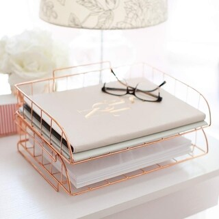 Blu Monaco 2 Piece Rose Gold Wire Stackable Paper Tray Set
