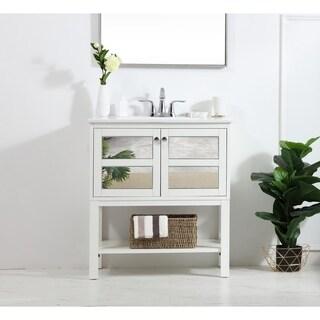 30 in. single bathroom mirrored vanity set
