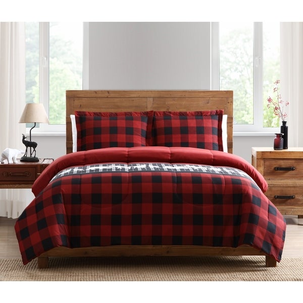 Asher Home Mount Twilight 3-piece Plaid Comforter Set